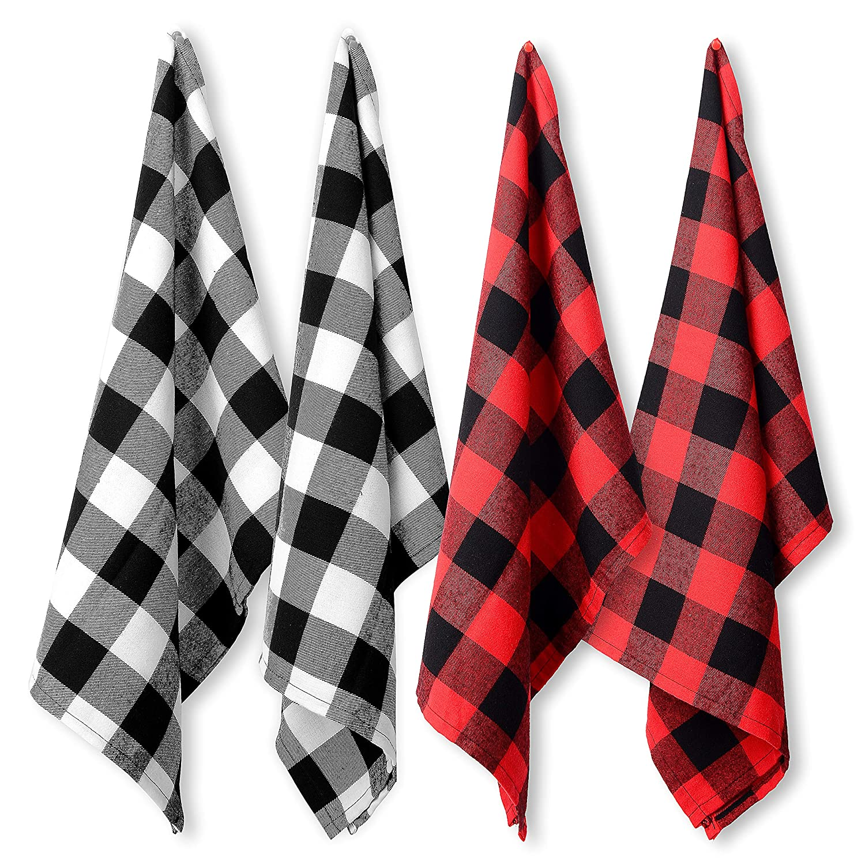 Buy NorCreations Buffalo Check Plaid Kitchen Towel Fibre, Set of 12 ...