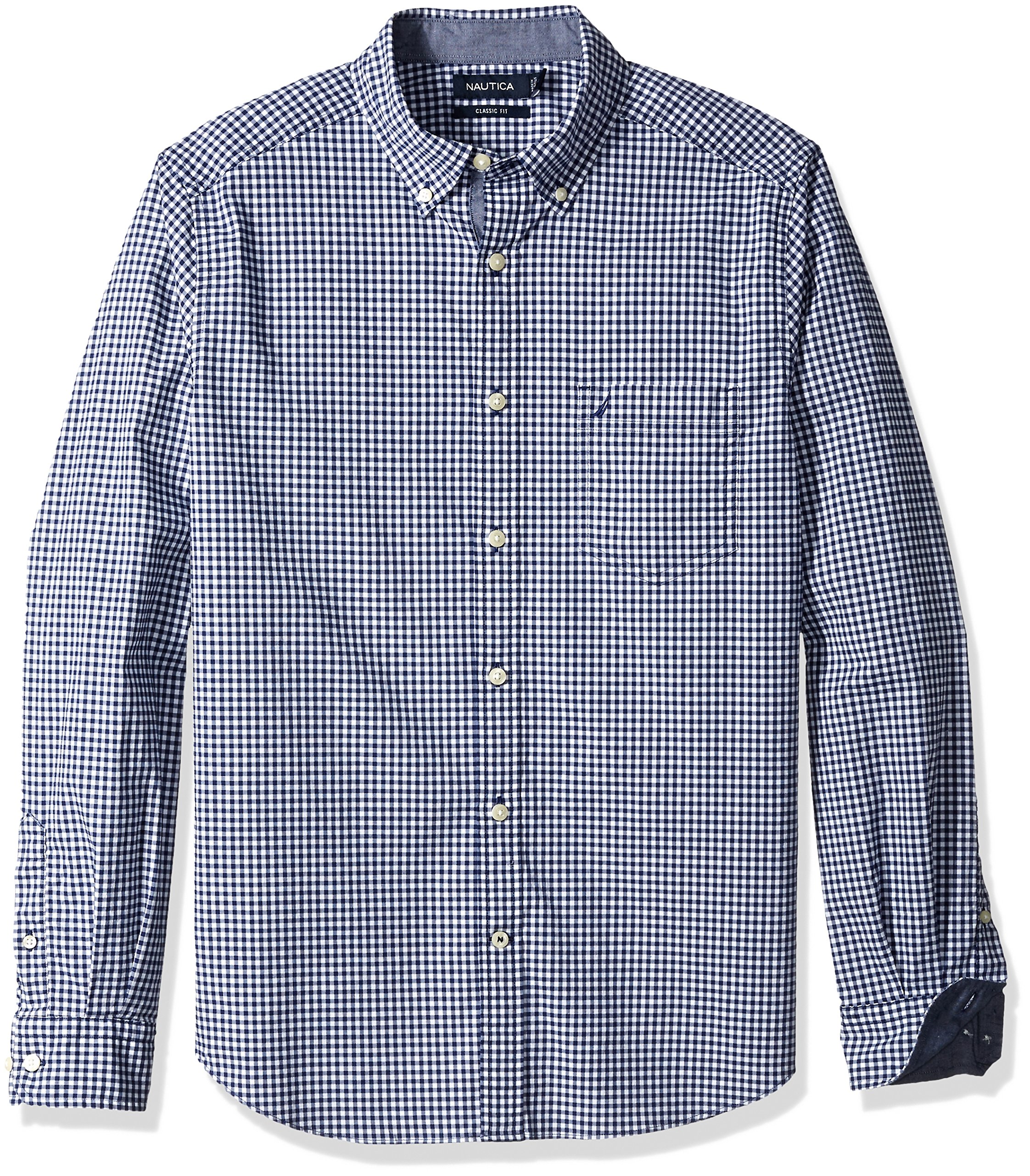 Nautica Men's Classic Fit Stretch Gingham Long Sleeve Button Down Shirt, j Navy, Large