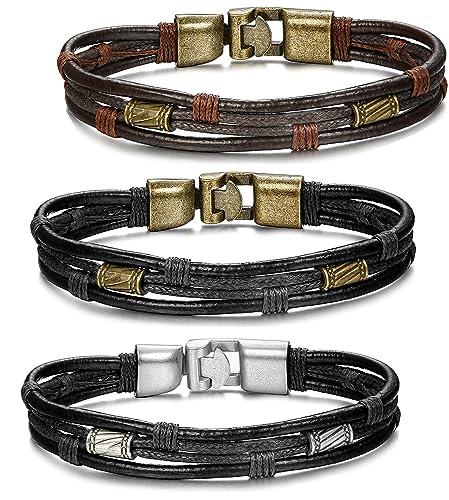 30300aeb5c23 ORAZIO 3PCS Leather Bracelet for Men Vintage Braid