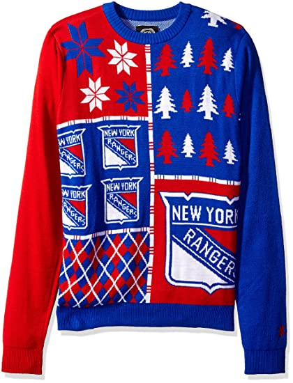 Forever Collectibles KLEW NHL New York Rangers Busy Block Ugly Sweater 4300a913593