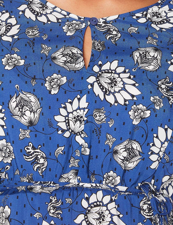 Queen Mum Damen Dress Woven Nurs Ss AOP Beiging Kleid