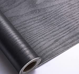Arthome Black Wood Paper 17''x120'' Self-Adhesive Removable Wood Peel and Stick Wallpaper Vinyl Decorative Wood Plank Film Vintage Wall Covering for Furniture Surface Easy to Clean