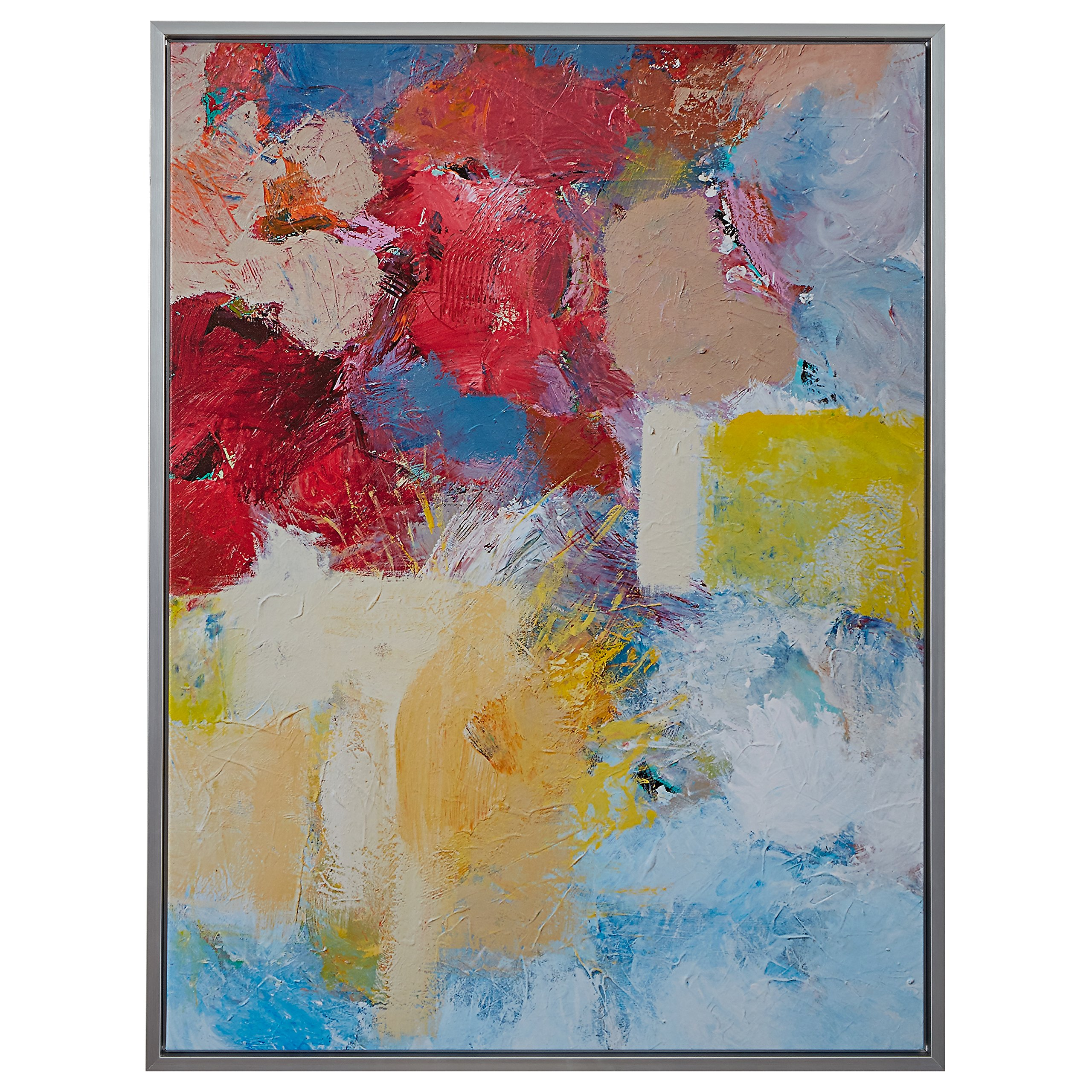 Abstract Red and Blue Print on Canvas, Silver Frame, 31.75'' x 41.75'' by Stone & Beam