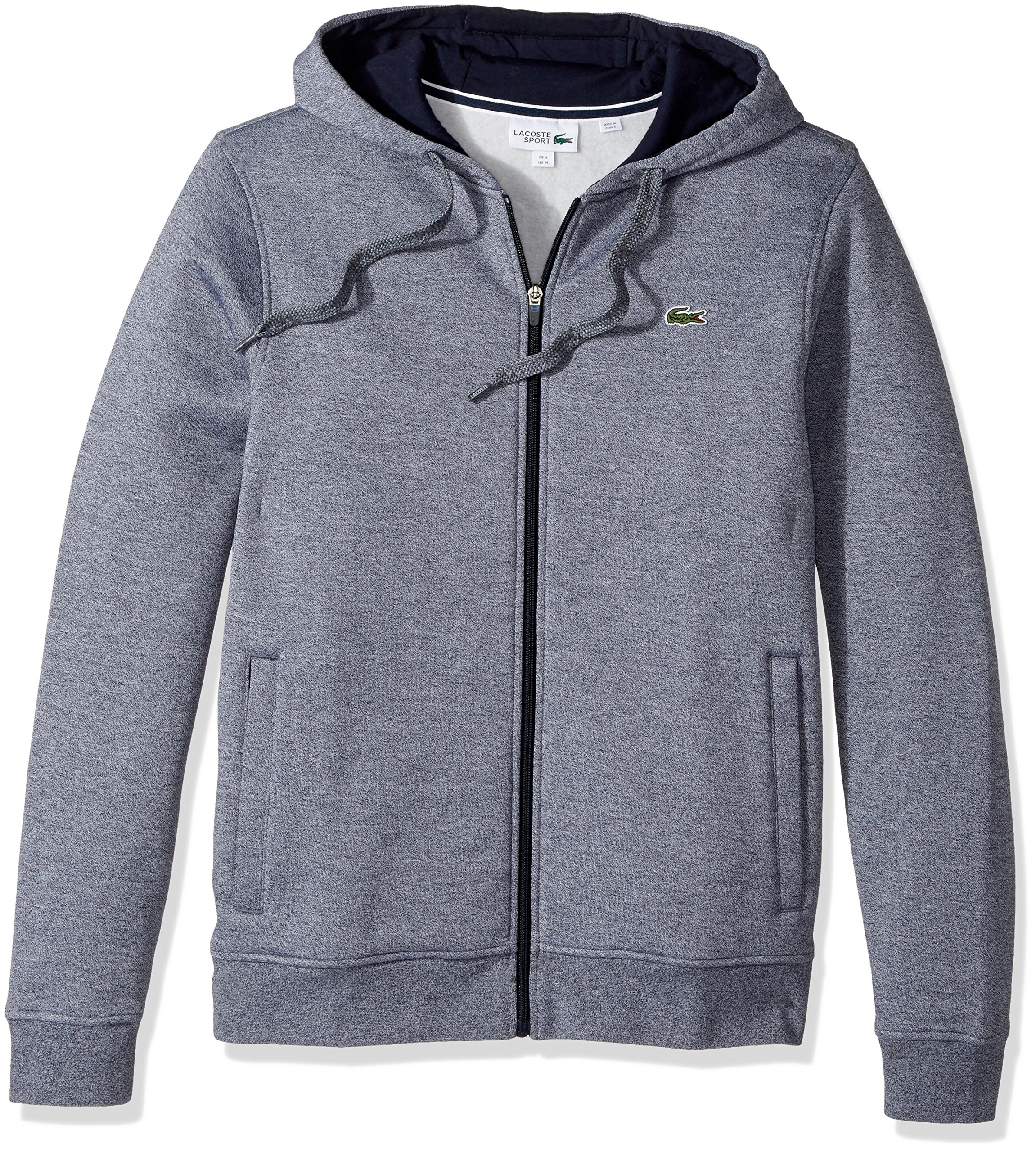 Lacoste Men's Full Zip Hoodie Fleece Sweatshirt, Moline Navy Blue, Small