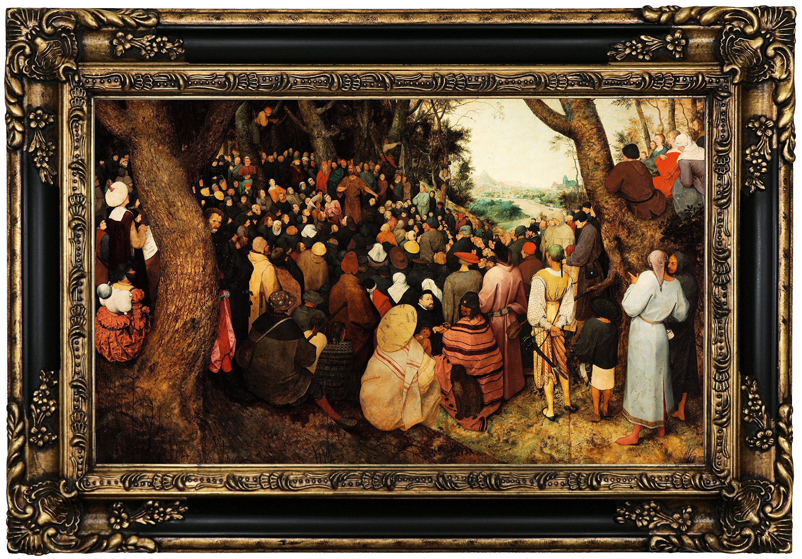 Historic Art Gallery the Sermon of Saint John the Baptist 1566 by Pieter Brueghel the Elder Framed Canvas Print, 12'' x 20'', Gold and Black Gallery by Historic Art Gallery