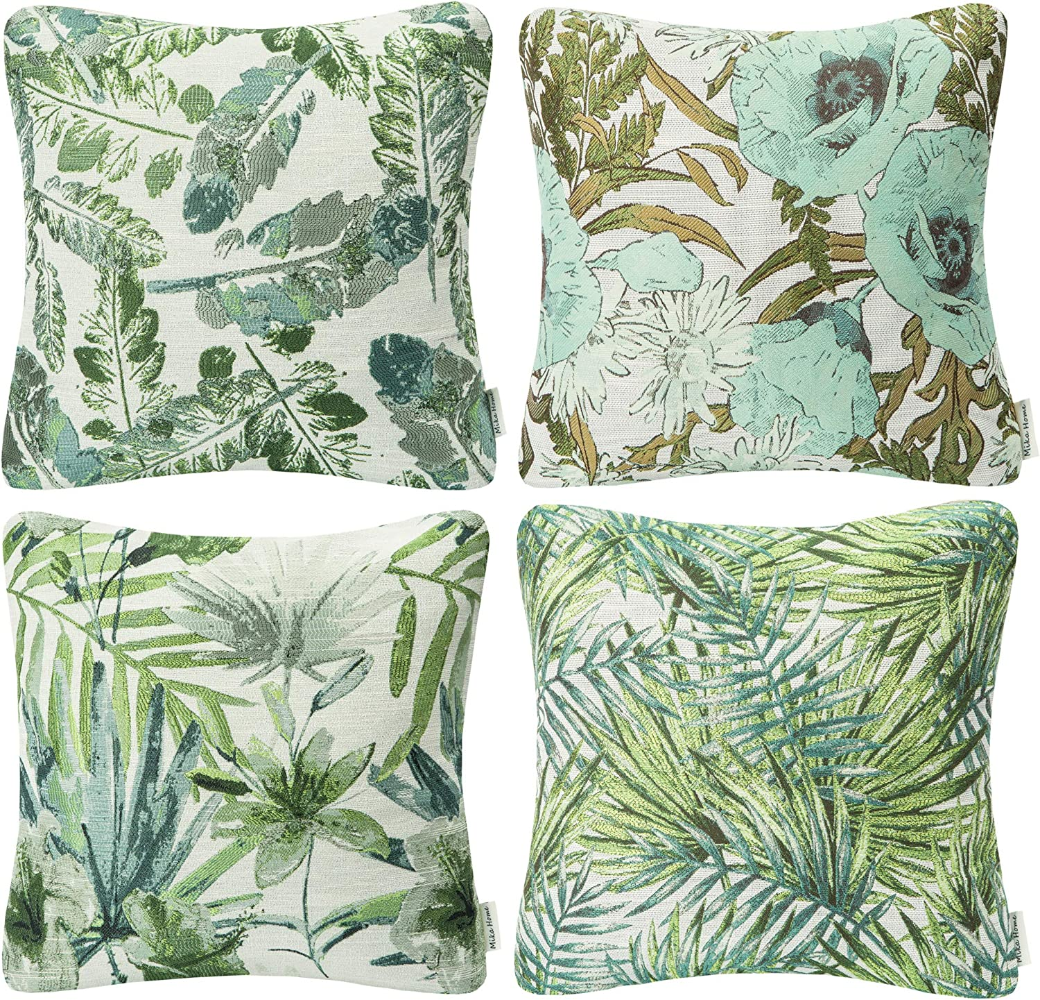 """Mika Home Set of 4 Green Garden Series Throw Pillow Covers Pillow Cases for Sofa Couch Home Decorations Flowers and Leaves 18"""" x 18"""" 45cm x 45cm"""