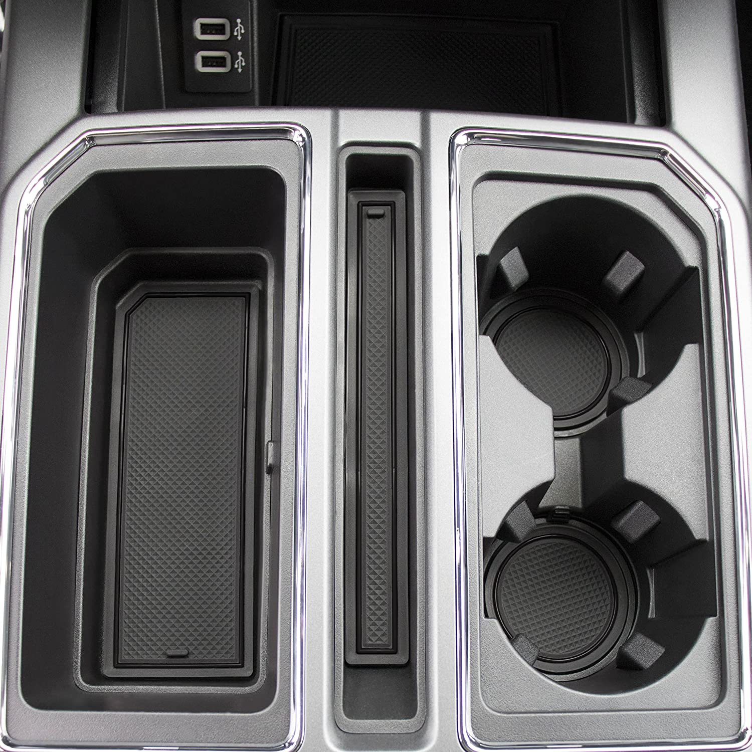 CupHolderHero 4350406904 Solid Black Super Crew 2017 2018 Ford F-150 Custom Fit Cup Holder and Door Liner Accessories F150 28-pc Set
