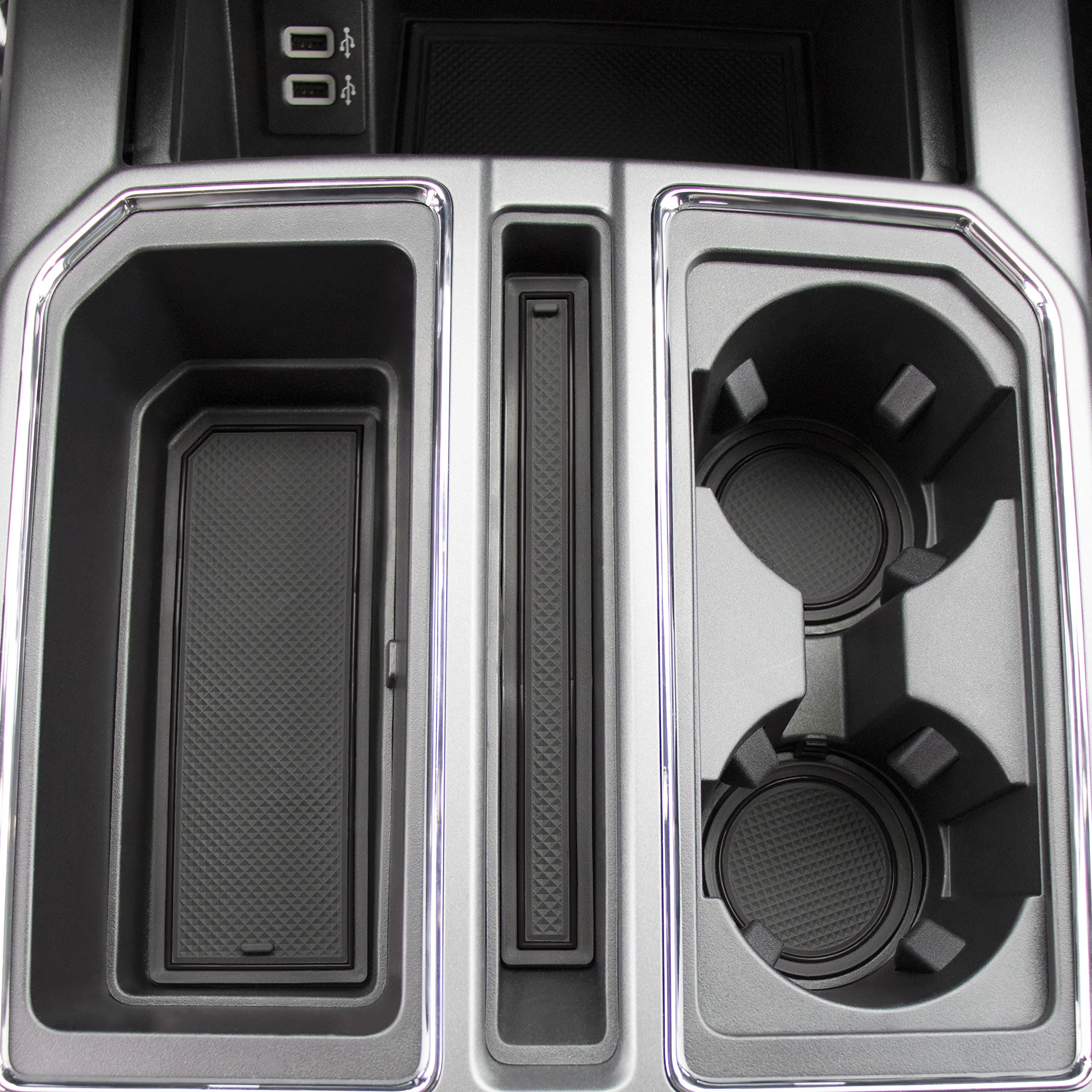 2017 2018 2019 for Ford F-150 Custom Fit Cup Holder and Door Liner Accessories F150 28-pc Set (Super Crew) (Solid Black)