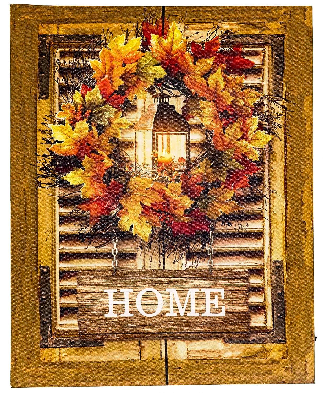 Wall Art Canvas LED Light Up Wreath Rustic Decor Fall ...
