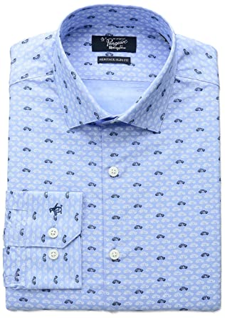 "Original Penguin Mens Slim Fit Stretch Vw Print Dress Shirt, Ocean, 15"" Neck"