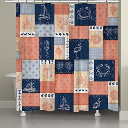 Laural Home Coral And Navy Coastal Shower Curtain 71x74 Patchwork Blue