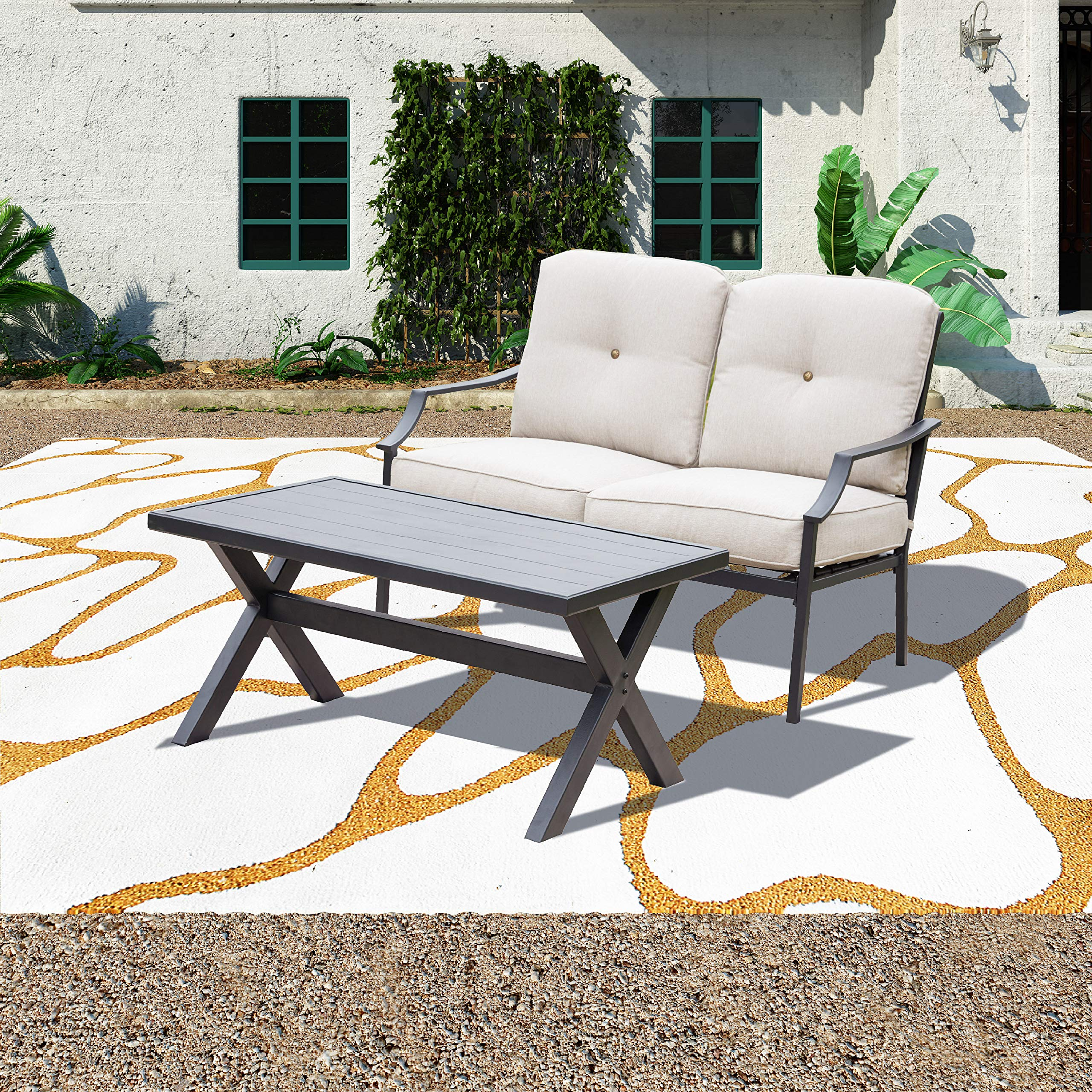 Patio Festival ® Outdoor Loveseat Bench,2PCs Conversation Furniture Set with Cushions,for Garden,Yard,Poolside and Patio (2 PCs, White) by Patio Festival ®