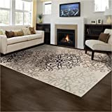 Superior Elegant Leigh Collection Area Rug, 8mm Pile Height with Jute Backing, Chic Contemporary Floral Medallion Pattern, Anti-Static, Water-Repellent Rugs - Beige, 2' x 3' Rug