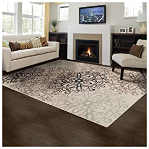 Superior Elegant Leigh Collection Area Rug, 8mm Pile Height with Jute Backing, Chic Contemporary Floral Medallion Pattern, Anti-Static, Water-Repellent Rugs - Beige, 5' x 8' Rug