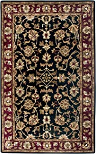 "Rizzy Home Volare Collection Wool Area Rug, 2'6"" x 8', Black/Burgundy/Sage/Tan/Off White Border"