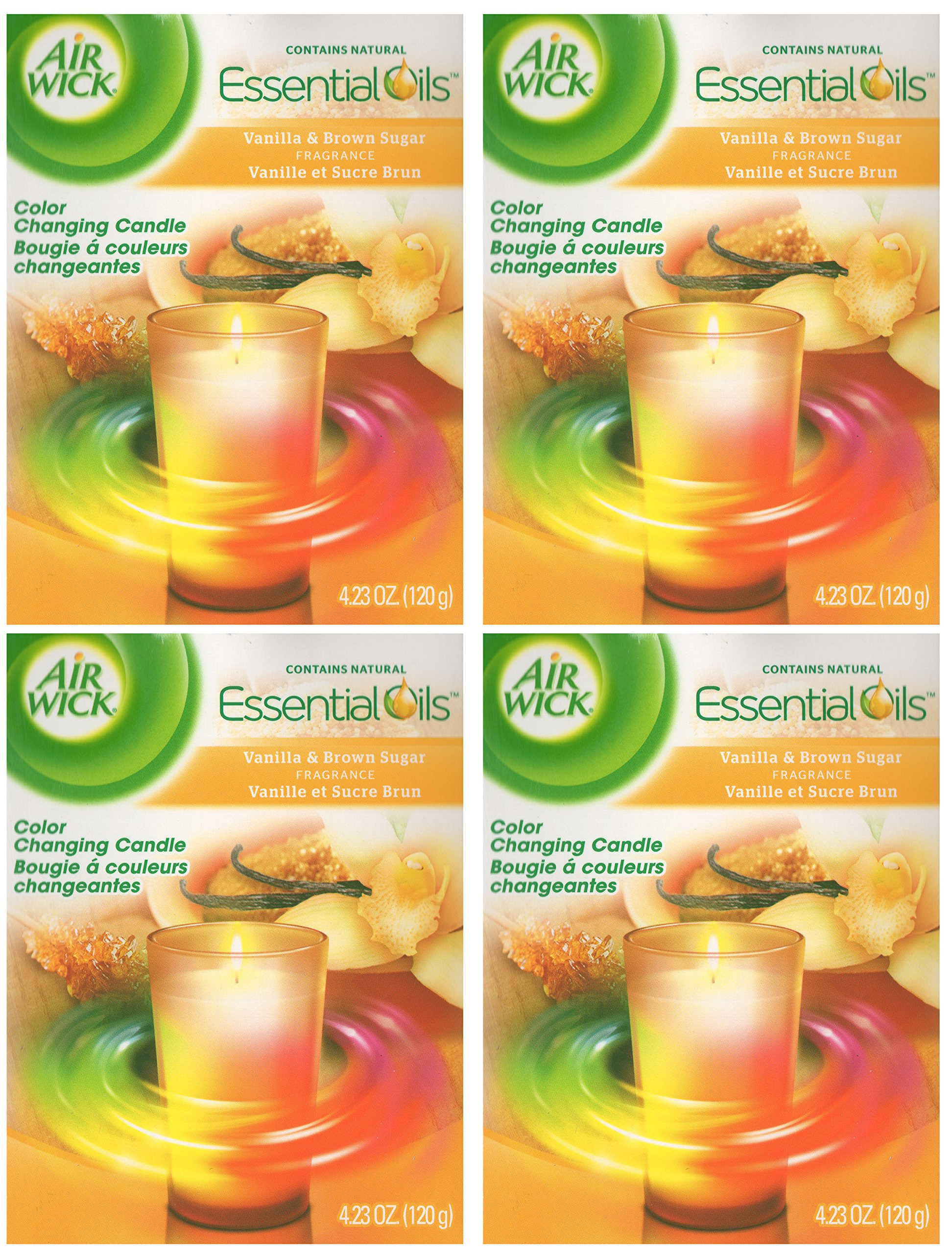 Air Wick Color Changing Scented Candle, Vanilla & Brown Sugar Scent , 4.23 ounce (4 Pack)