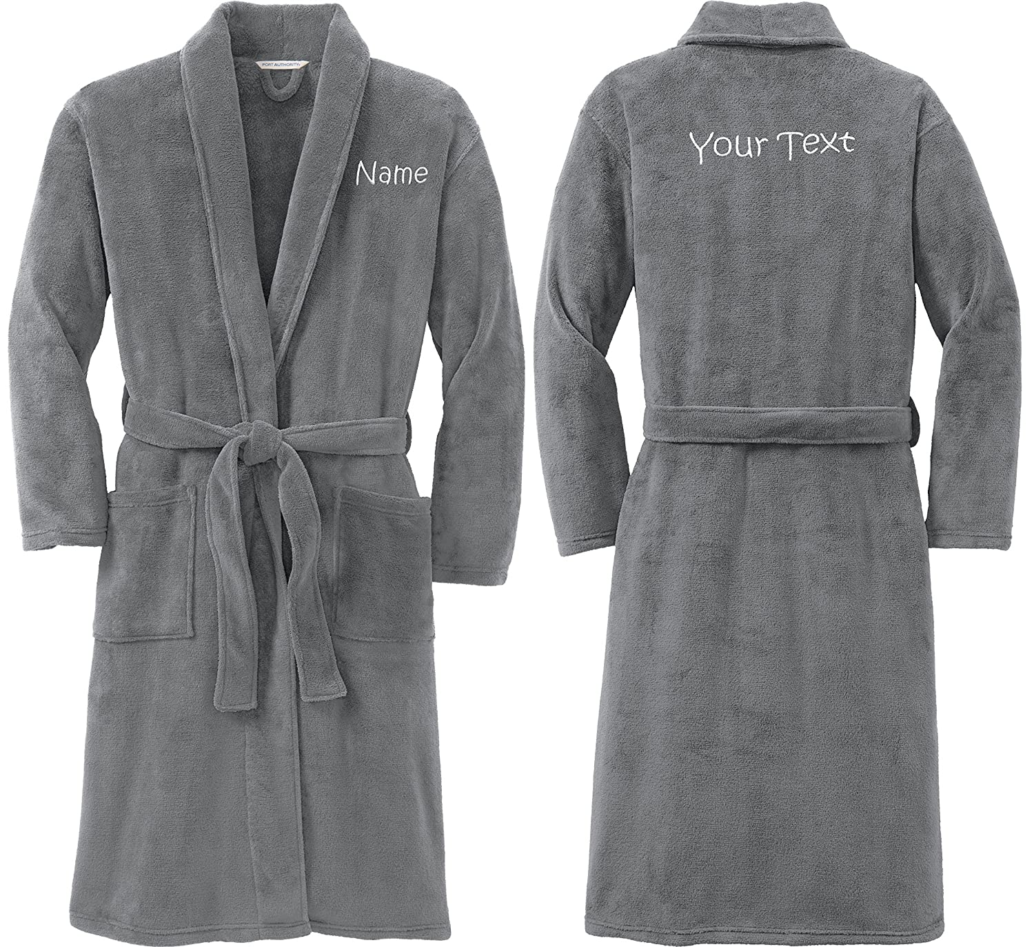 Smoke Personalized Plush Microfleece Robe with Embroidered Name /& Back