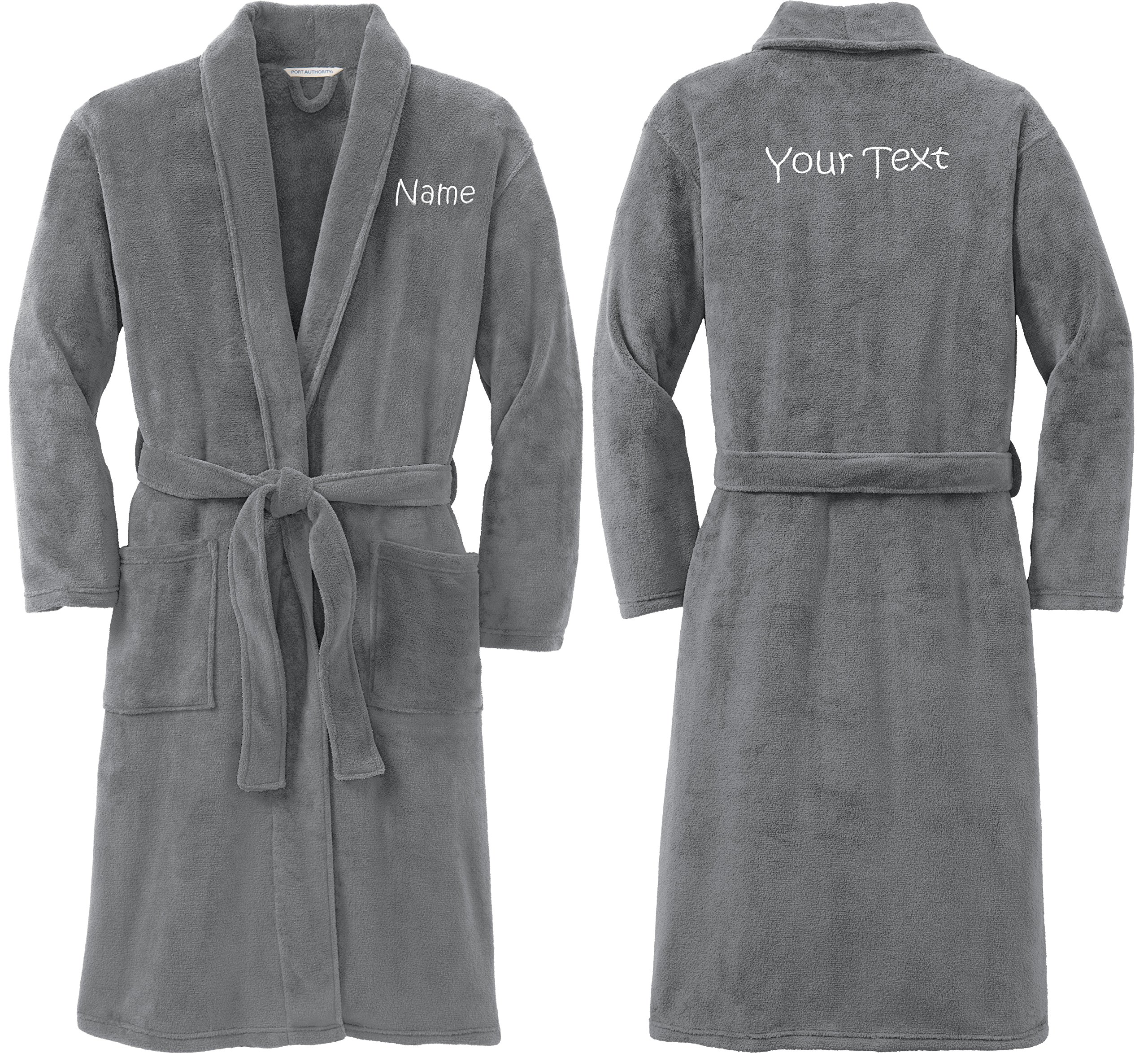 Personalized Plush Microfleece Robe with Embroidered Name & Back, Smoke, Small/Medium