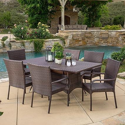 Merveilleux Great Deal Furniture Kory Outdoor 7pc Multibrown Wicker Dining Set