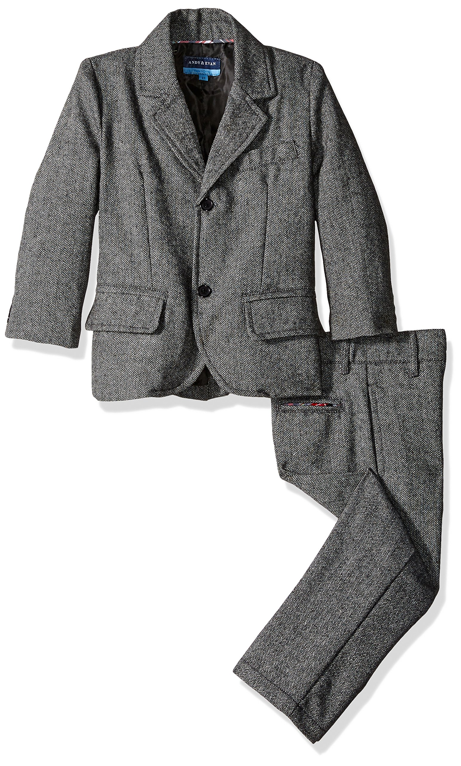Andy & Evan Little Boys' Herringbone Suit 2 Piece Set, Black, 7