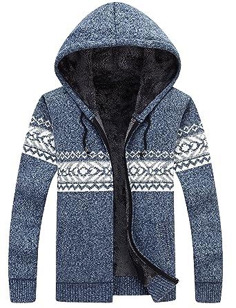 Yeokou Mens Thick Fleece Lined Full Zip Hoodie Cardigan Sweaters