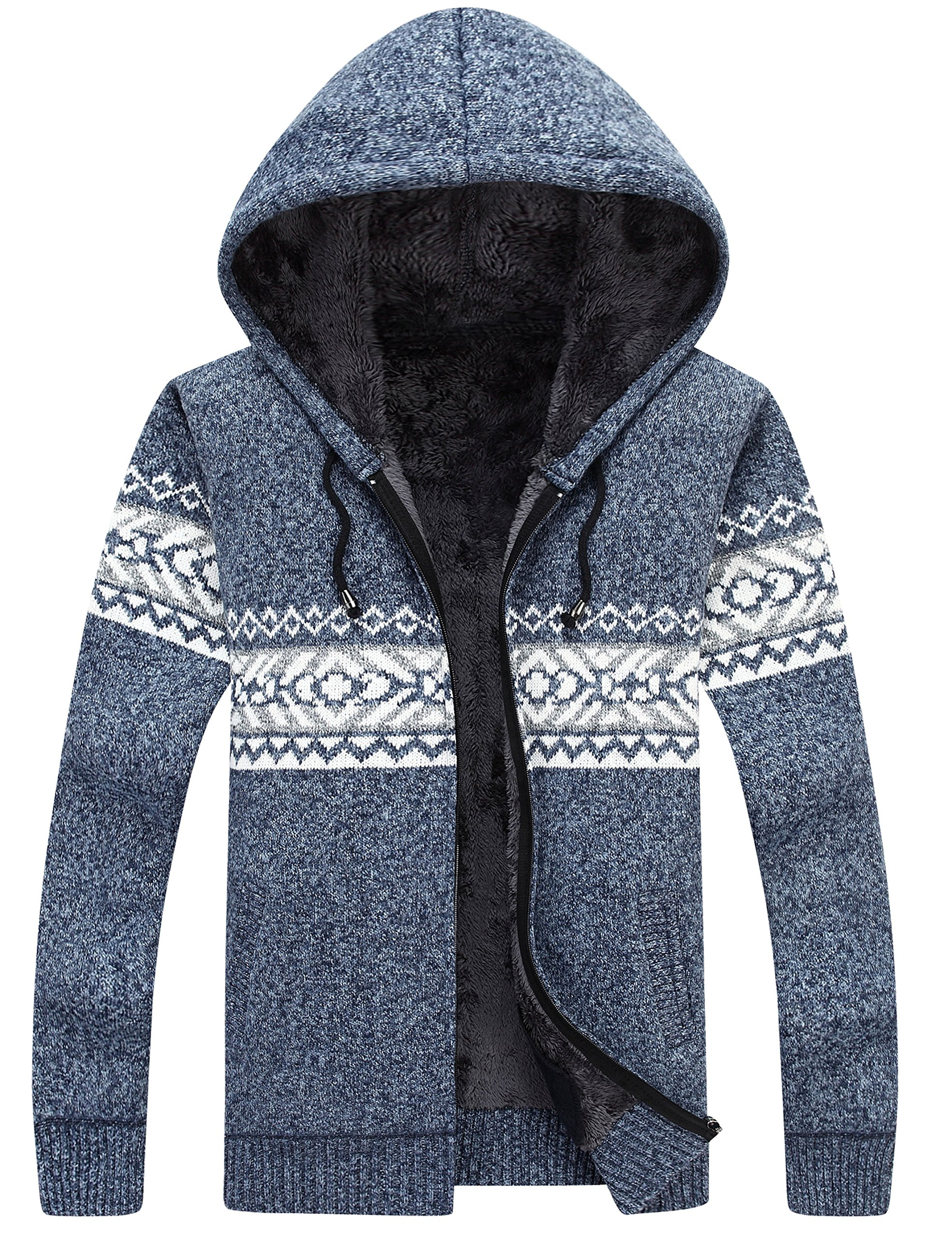 Lentta Men's Casual Slim Fit Full Zip up Sherpa Lined Hooded Cardigan Sweaters (Large, Blue)