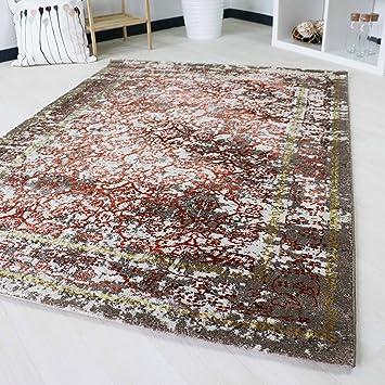 Amazon.de: Teppich Kurzflor orientalisch Modern mit Ornamente und ...