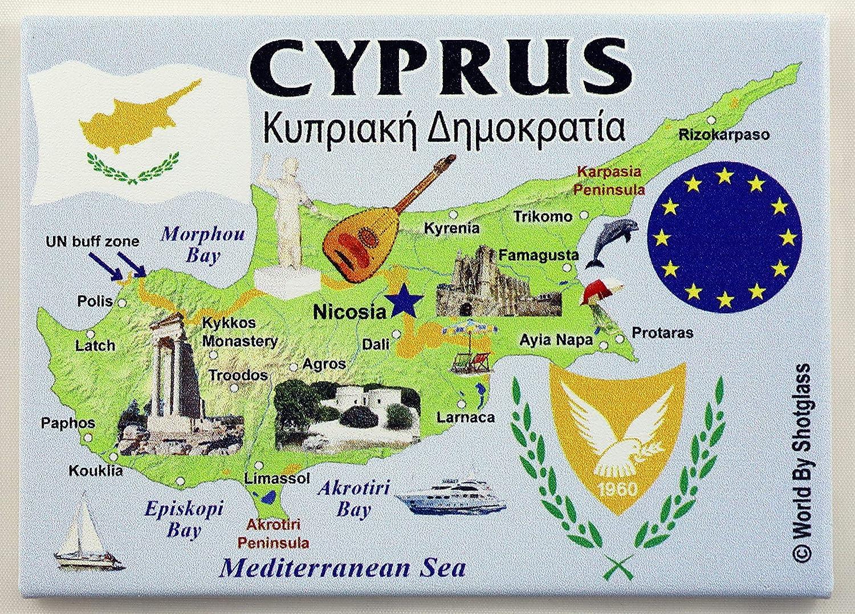 """Cyprus EU Series Souvenir Fridge Magnet 2.5"""" X 3.5"""""""