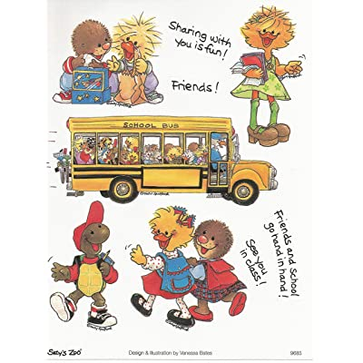 Suzy's Zoo Back to School Multiple Character Sticker 6 inches by 4.5 inches: Toys & Games
