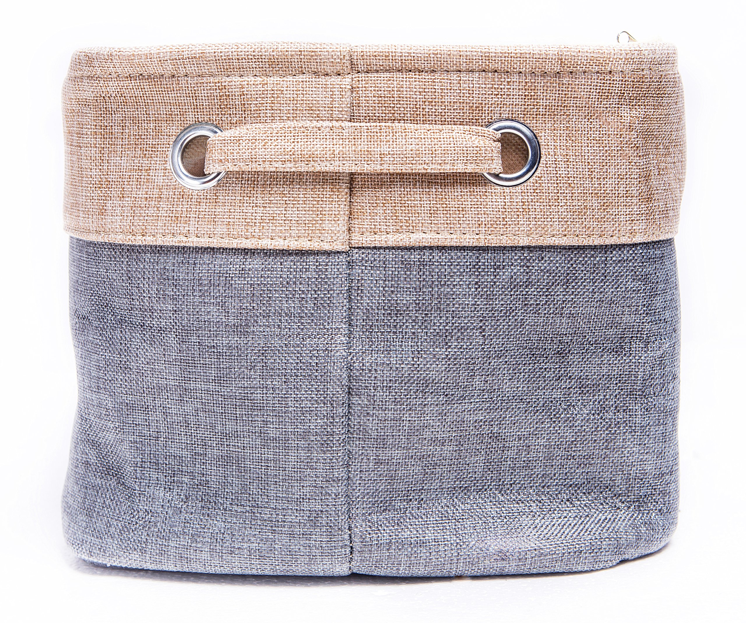 "Amelitory Storage Bins Foldable Basket Fabric Cube Collapsible Organizer Cotton Linen Set of 3 (Multi) - Set of 3 storage cubes for organizing home and office clutter 14.5"" x 10"" x 8.5"" Large capacity,providing you a good space-saving solution Durable and foldable, 2 sturdy handle with metal eyelets for grabbing or pulling from shelves, easy to carry or store - living-room-decor, living-room, baskets-storage - A1yDfRl47HL -"