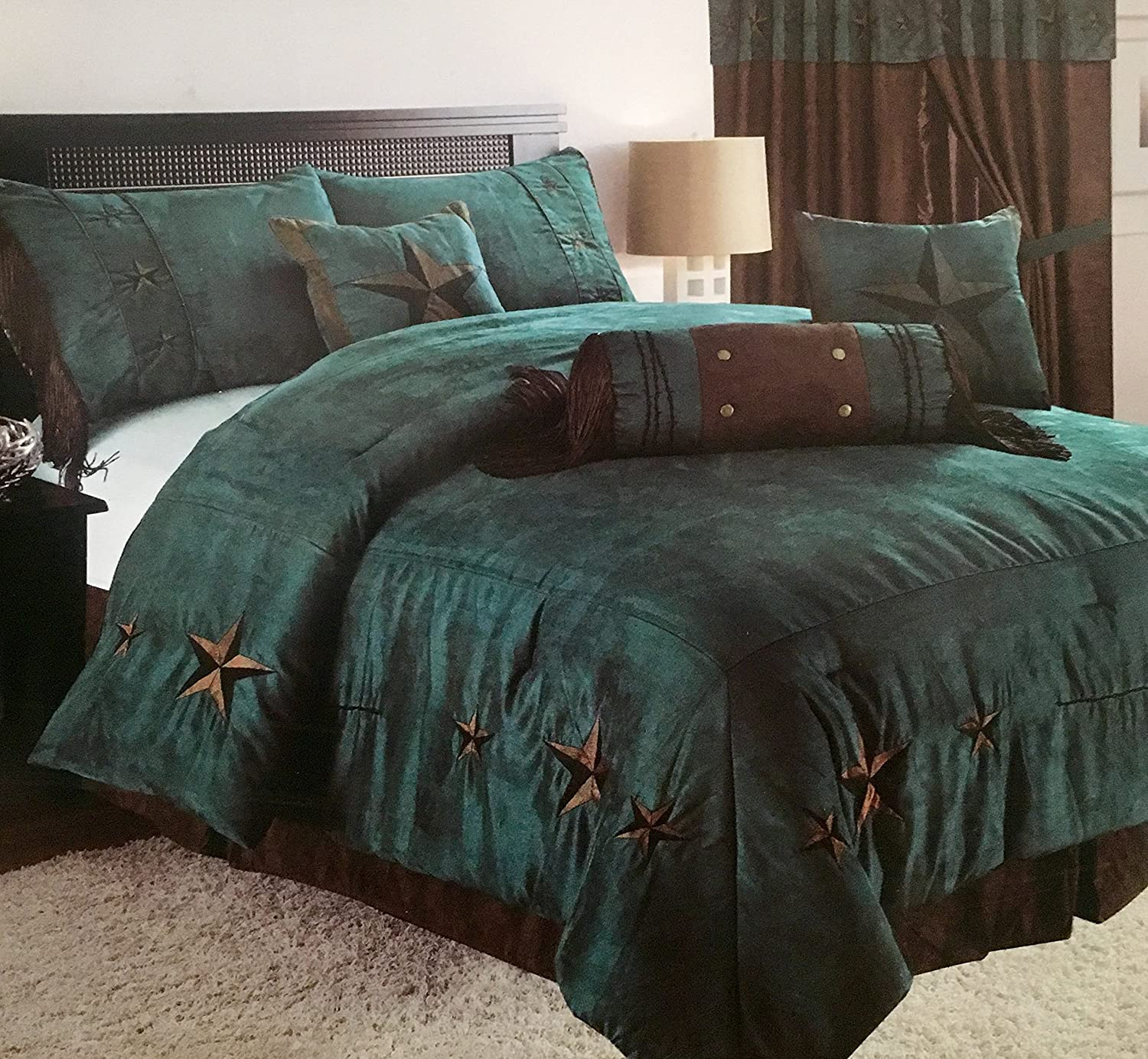 Linen Mart Rustic Turquoise Embroidery Star Western Luxury Comforter - 7 Pc Set (Oversized Queen)