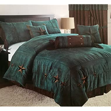 Rustic Turquoise Embroidery Star Western Luxury Comforter - 7 Pc Set (Oversized Queen)