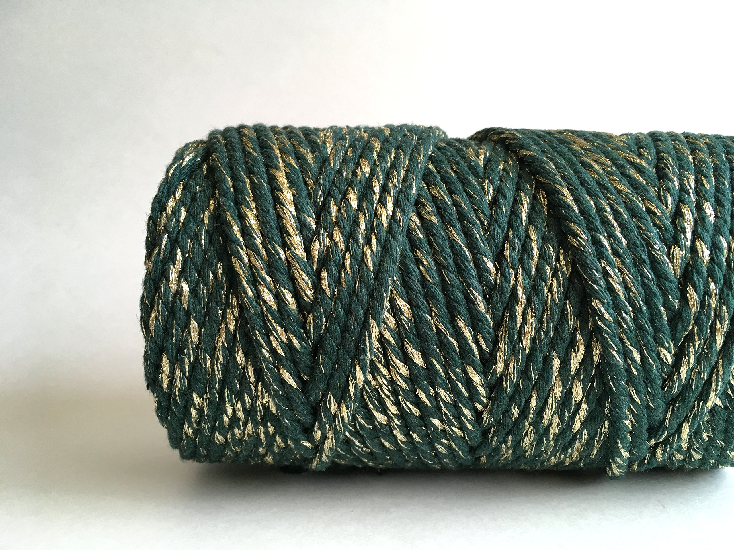 Emerald Green and Gold Macrame Cord / 4mm 3 Strand Cotton Sparkle Fiber Art Rope by Rock Mountain Co (Image #2)