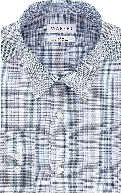 Calvin Klein Men's Dress Shirt Slim Fit Non Iron Stretch Check