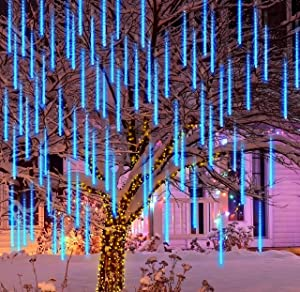 Joiedomi 2Packs Christmas Meteor Shower Lights Falling Rain Drop Icicle String Lights 240 LEDs 8 Tube 30cm/12inch Blue for Christmas Holiday Party Home Patio Outdoor Decoration