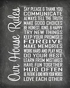 "House Rules - Beautiful Photo Quality Poster Print - Decorate your home with these beautiful prints for kitchen, bath, family room, housewarming gift Made in the USA (8"" x 10"", Our House Chalk)"
