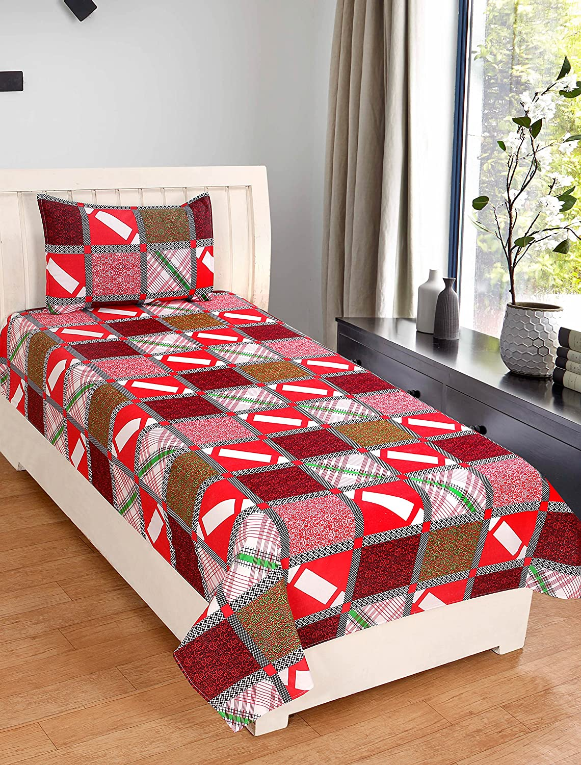 7c522d1f8b Zain Cotton Single Bed Sheet with 1 Pillow Cover, RED Checkered Pattern:  Amazon.in: Home & Kitchen