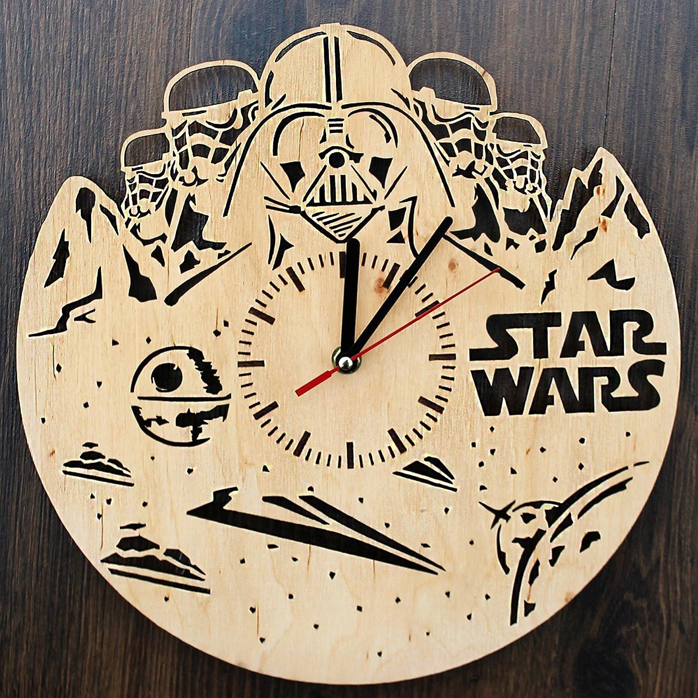 Amazoncom Star Wars Characters Design Real Wood Wall Clock Eco