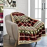 "PAVILIA Premium Plush Sherpa Throw Winter Cabin Blanket | Soft, Warm, Cozy, Lightweight Microfiber Idea For Holidays, Housewarming | 50"" x 70"" (Red)"