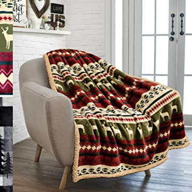 "PAVILIA Premium Plush Sherpa Throw Christmas Blanket | Soft, Warm, Cozy, Reversible Microfiber Fleece Winter Cabin Throw | Holiday Theme Blanket 50"" x 60"" (Red)"