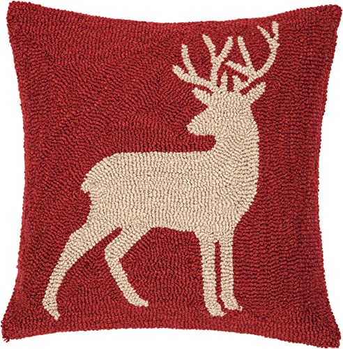 C F Home Buck Lodge Cabin Holiday Christmas Winter Xmas Red Tan Handcrafted Premium Hooked Decorative Throw Pillow 18 x 18 Red