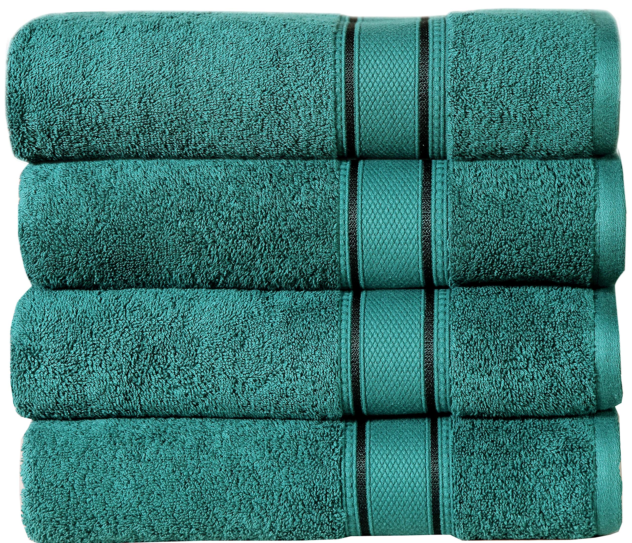 Linen Clubs Bath Towel Extra Large,Bath Towel Absorbent,Bath Towel Made of 100% Combed Ring Spun Cotton,Luxrious Customized Border Bath Towel .Set of 4 Teal Color,Size 30x54 GSM-580 - Set Contains - 4 Ultra Soft Oversized Bath Towels 30x54 inch. COLOR-TEAL. LONG-STAPLE COMBED COTTON. Superior's 100% Premium Long-Staple Cotton is specially combed to remove all but the finest and longest fibers, making these towels the ultimate in luxury. Thirstier than Turkish cotton and softer and more durable than standard cotton, our longer fibers can be spun thinner, which increases the comfort and absorbency of these towels Brilliant intense vibrant colors, highly functional and durable, easy care machine wash. These bath Towels will last you a long time. - bathroom-linens, bathroom, bath-towels - A1yEhy6ZtVL -