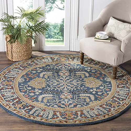 Safavieh Antiquities Collection AT64B Handmade Traditional Dark Blue and Multi Round Area Rug 6 Diameter