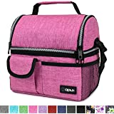 OPUX Deluxe Thermal Insulated Dual Compartment Lunch Bag for Women | Double Deck Reusable Lunch Box with Shoulder Strap, Soft Leakproof Liner | Large Lunch Tote Pail for Work, School (Pink)