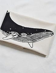 Tea Towel - Organic Cotton - Whale Design in Black - Natural Flour Sack