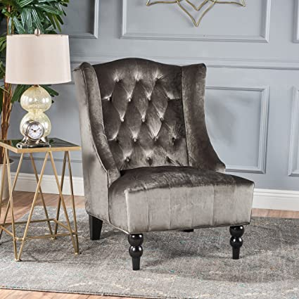 Marvelous Talisa | Tall Winged Tufted Velvet Accent Chair | Grey |