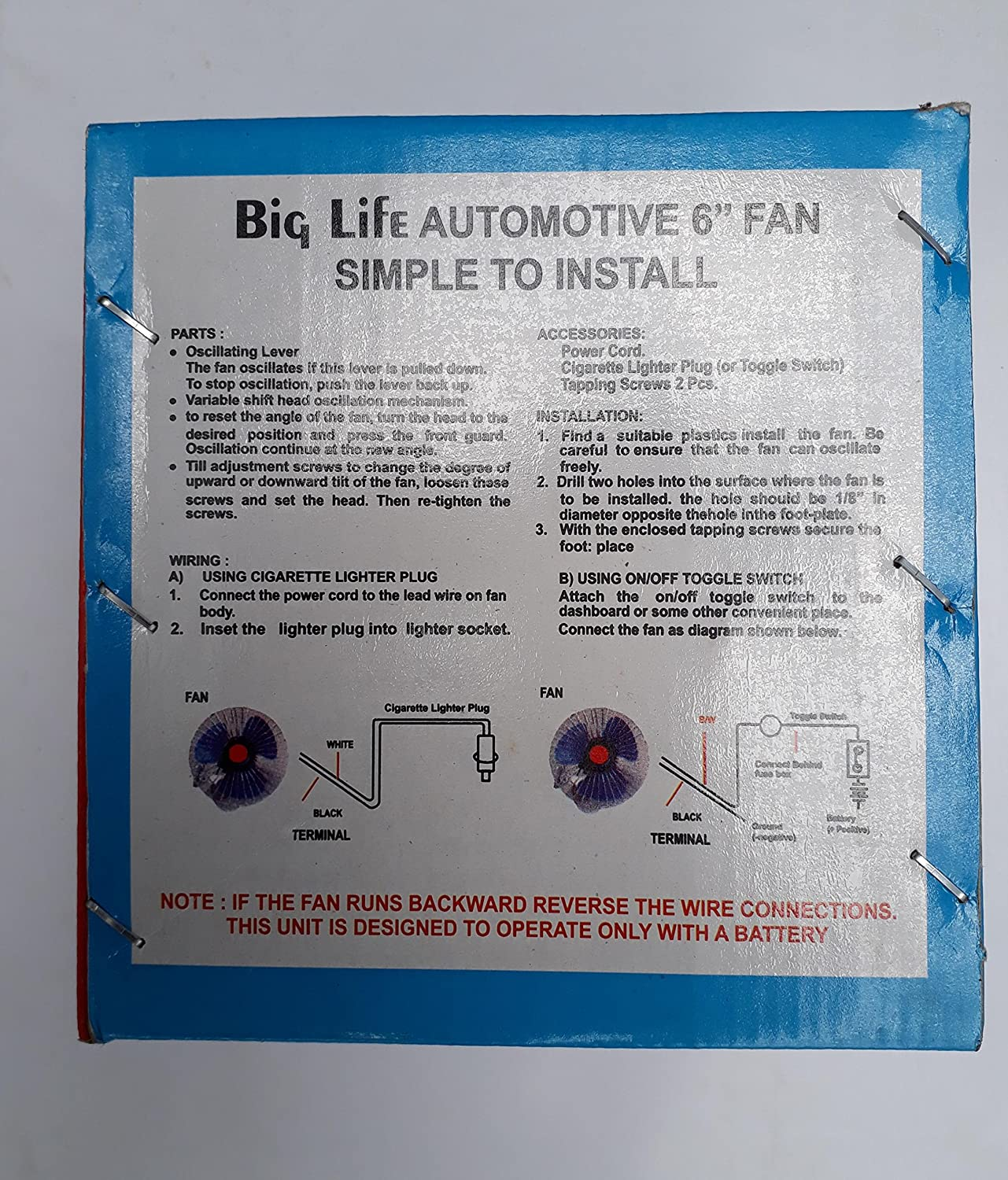 Volga Enterprises Regd Car Fan 6 Inch With Switch And Wiring 12v Table Diagrams As Well 3 Way Switches Dc Motorbike
