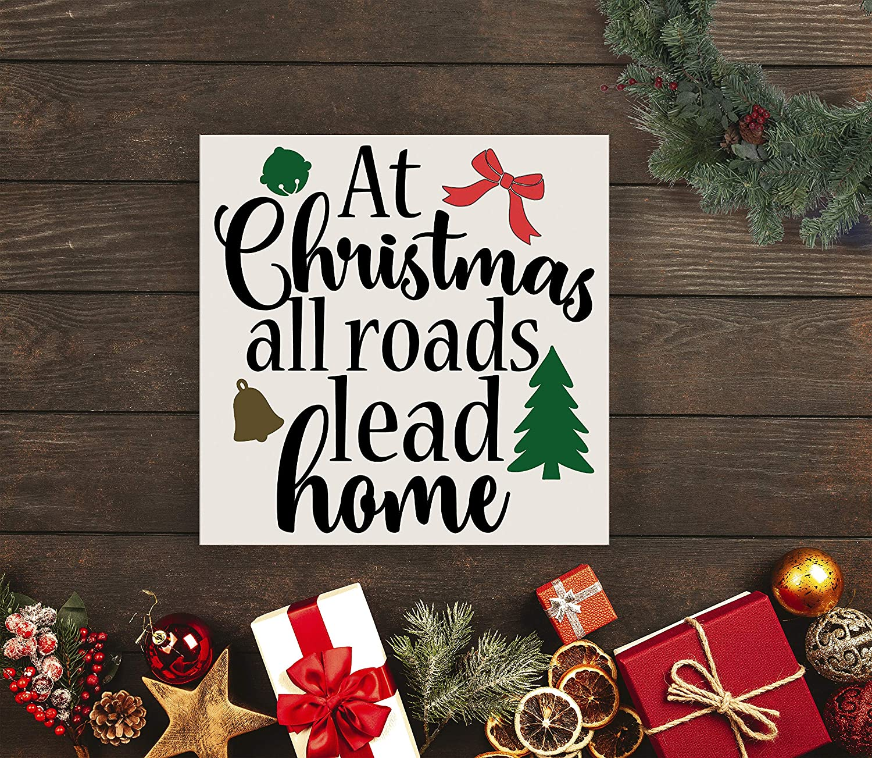 43LenaJon Wood Christmas Sign, at Christmas All Roads Lead Home, Sign, Going Home for Christmas, Home for Christmas, All Roads, Lead Home,Wooden Door Welcome Label