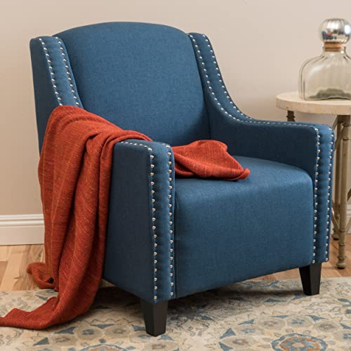 Christopher Knight Home Ellesmere Fabric Studded Club Chair, Dark Blue