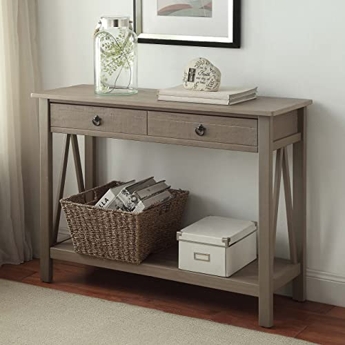 FurnitureMaxx Maloof Rustic Gray Pine Wood Console Table